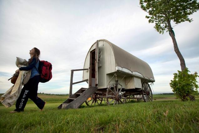 Brenna leaving the wagon