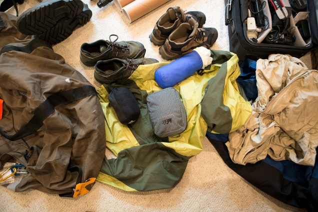 Lots of waterproof bags, skeeter nets, rain coats, and footwear